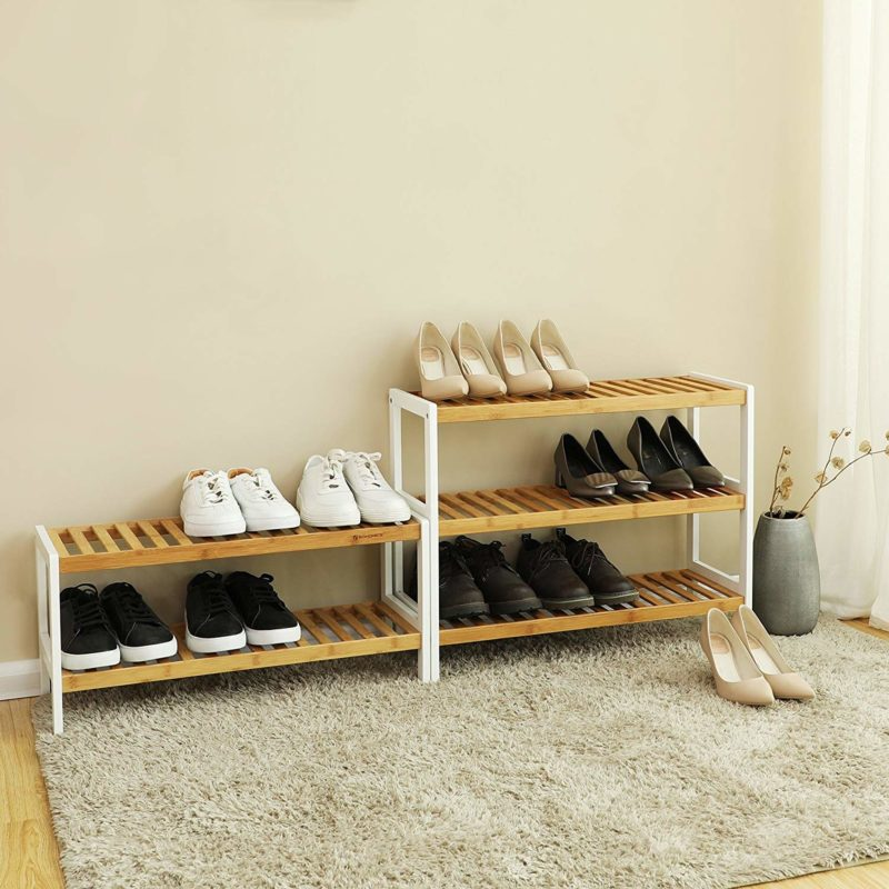 Bamboo shoe racks with white-painted frames
