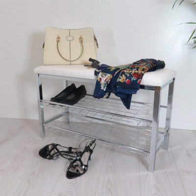 Polished meatl shoe rack with bench seat