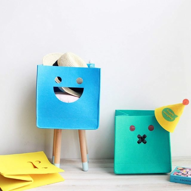 Kid's felt storage cubes with funny faces