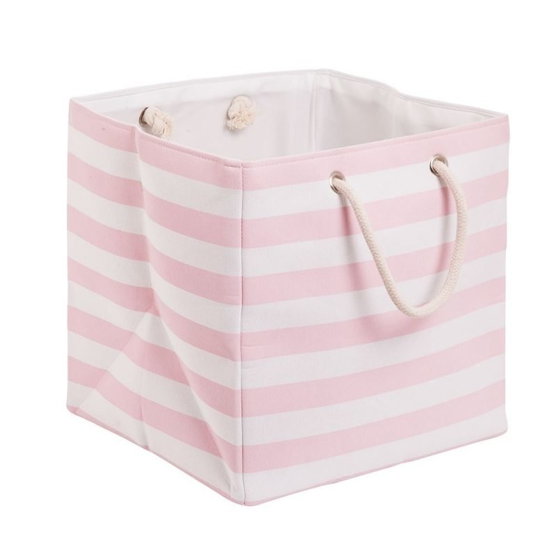 Pink stripe canvas cube