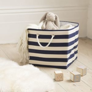 Navy Stripe Storage Basket with Rope Handles