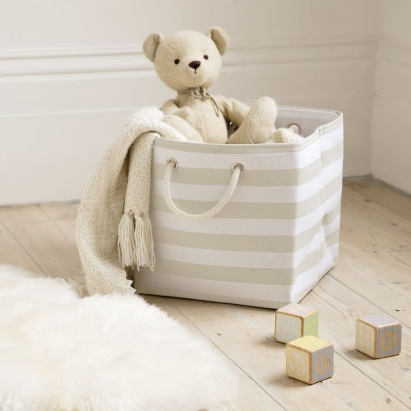 Beige stripe canvas basket