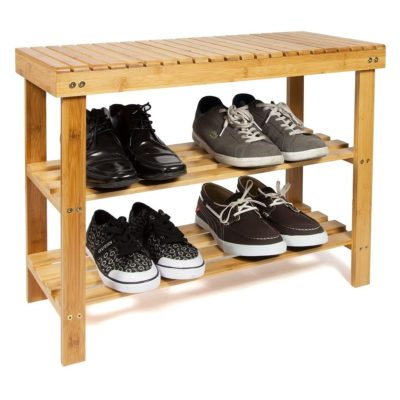 Bamboo wood shoe bench