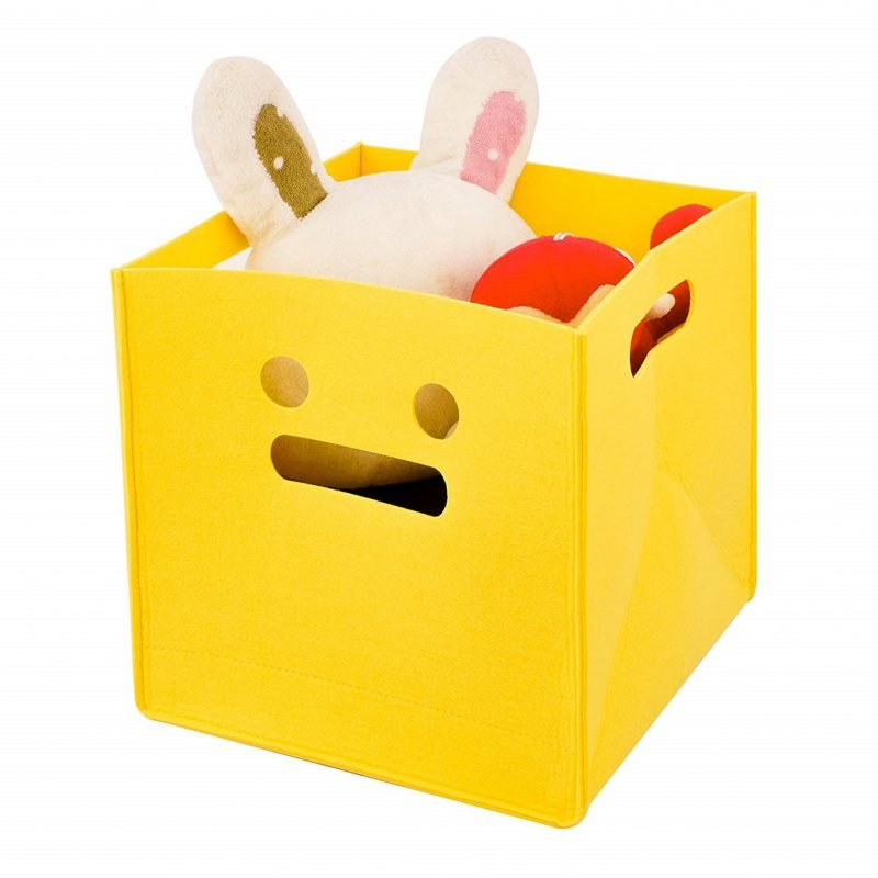 Yellow felt storage cube