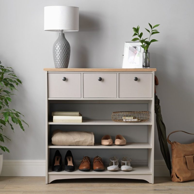 Grey-painted console with shoe storage