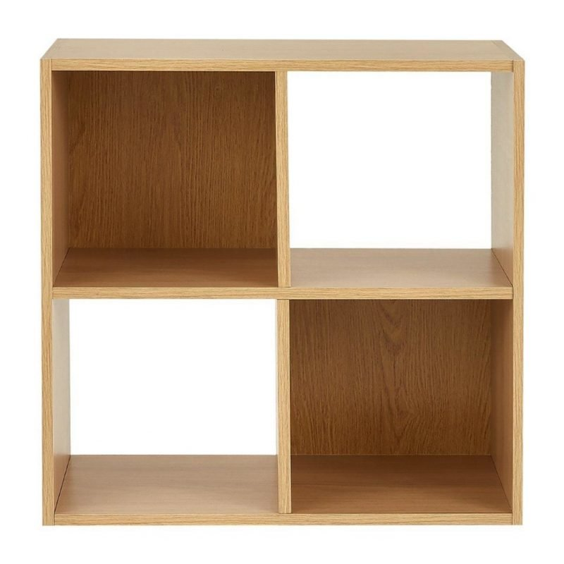 4 cube unit with oak finish