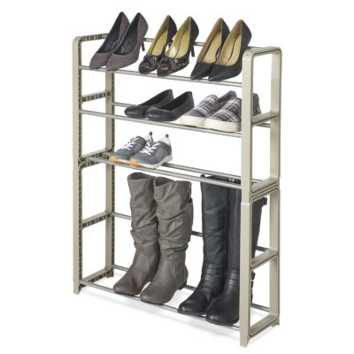 Stacking plastic shoe rack