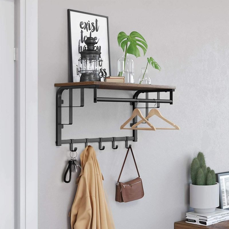 Wall-mounted coat rack with shelf