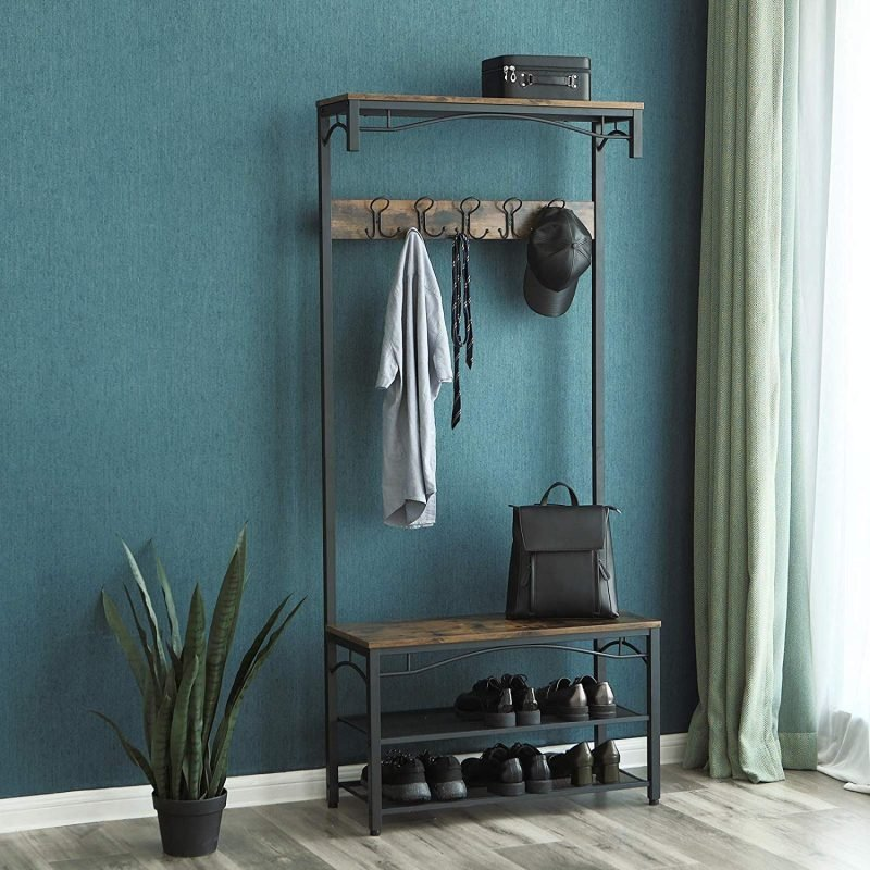 Wood and metal coat stand