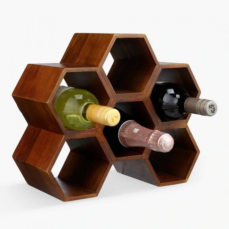 Honeycomb shaped wine bottle rack