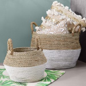 Woven baskets with handles and white bases