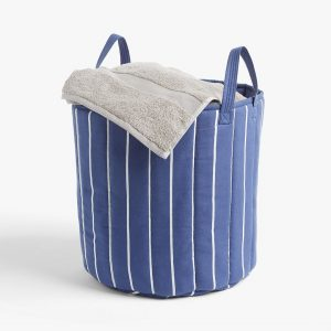 Blue/white striped storage hamper