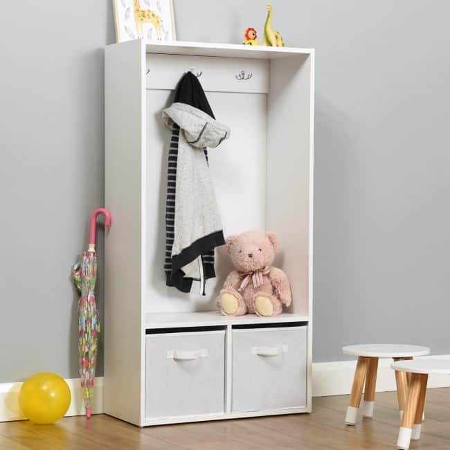 Kid's combined coat stand and storage unit