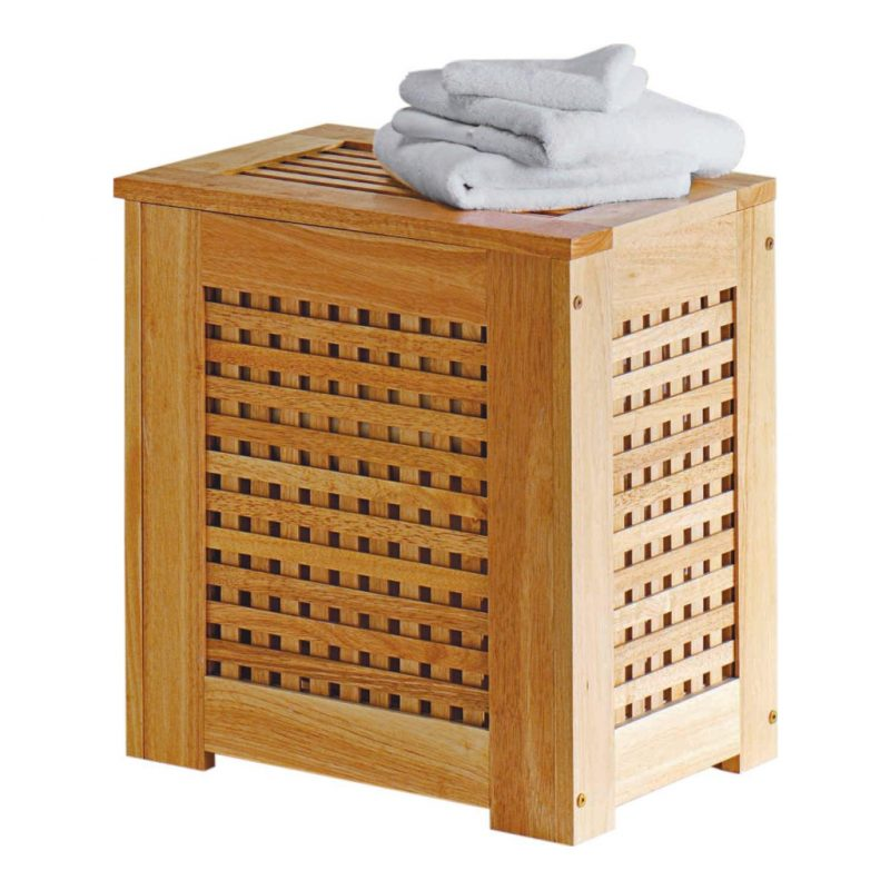 Bamboo laundry bin with lattice sides