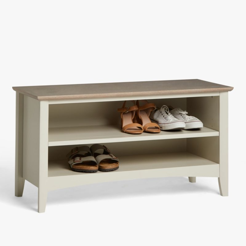 Grey-painted shoe bench with oak top