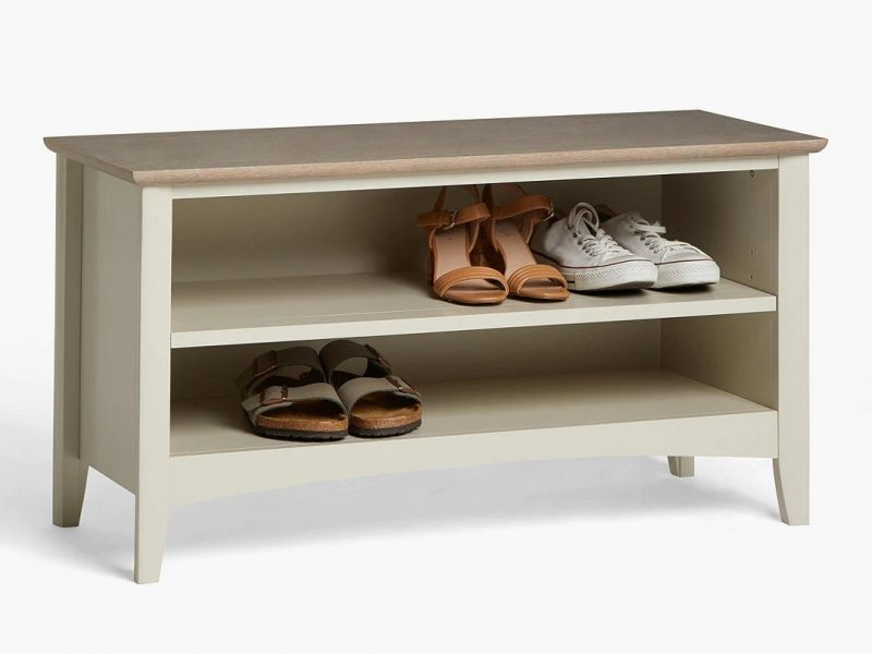 Washed grey shoe bench with oak top