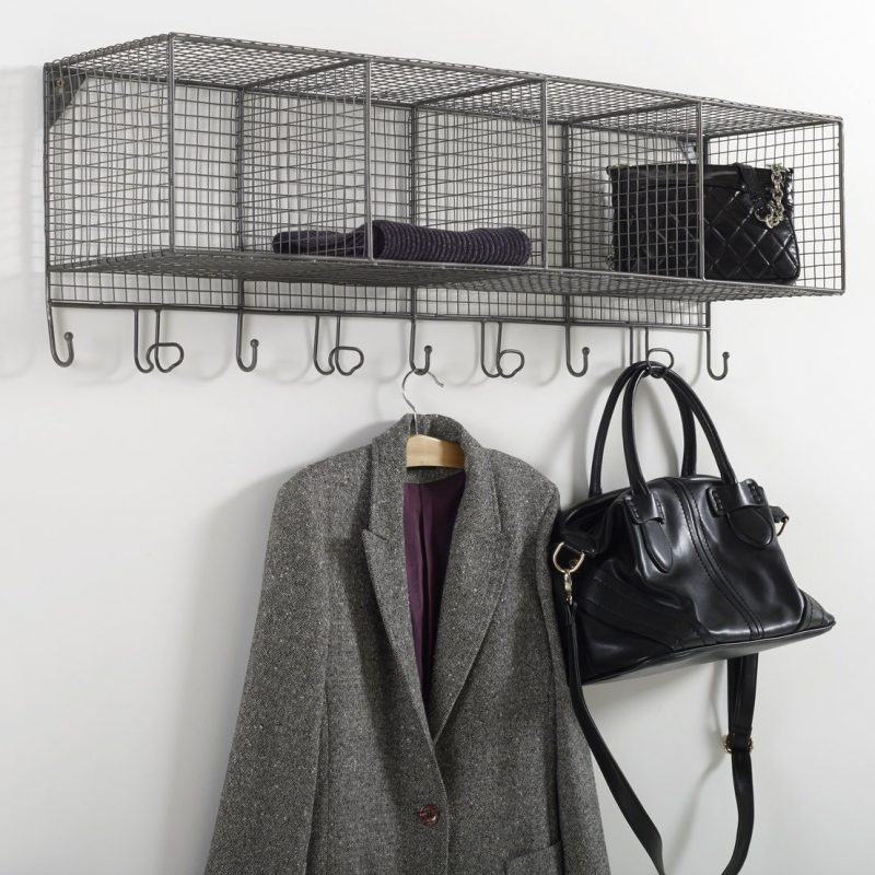Wall-mounted wire coat rack and storage