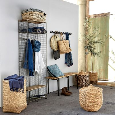 Wire and wood hallway storage