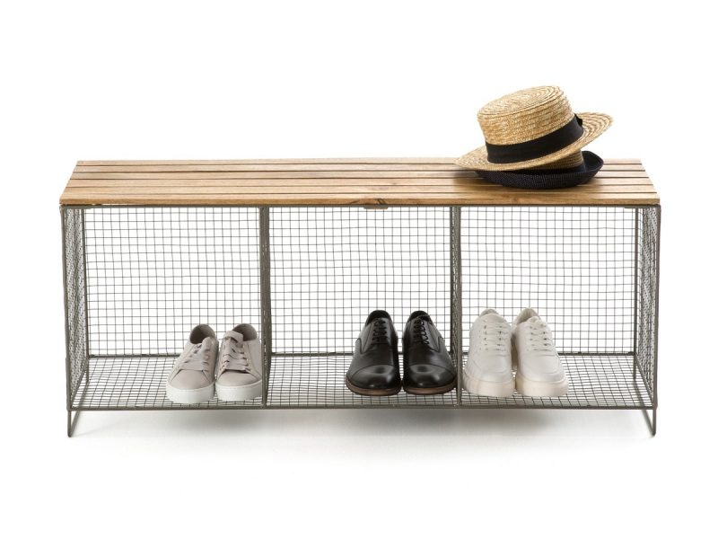 Wire shoe bench with wooden top