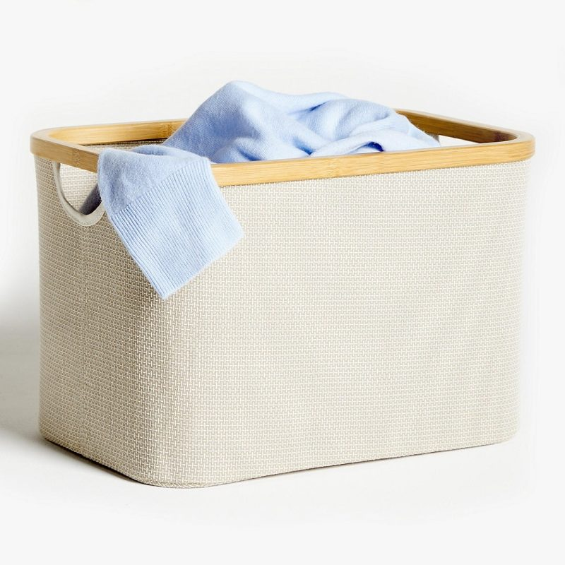 Large fabric storage basket with bamboo rim