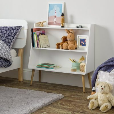 White Scandi-style children's bookcase