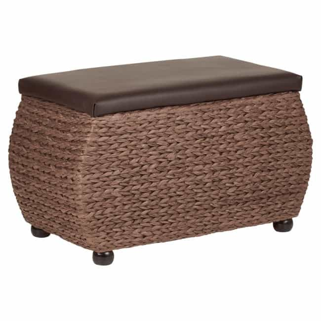 Dark brown ottoman with faux leather seat