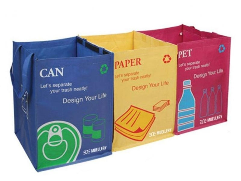 Brightly coloured recycling bags
