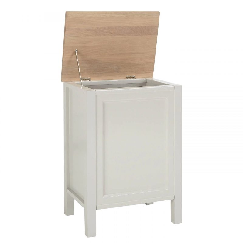 Silver grey laundry bin with wooden lid