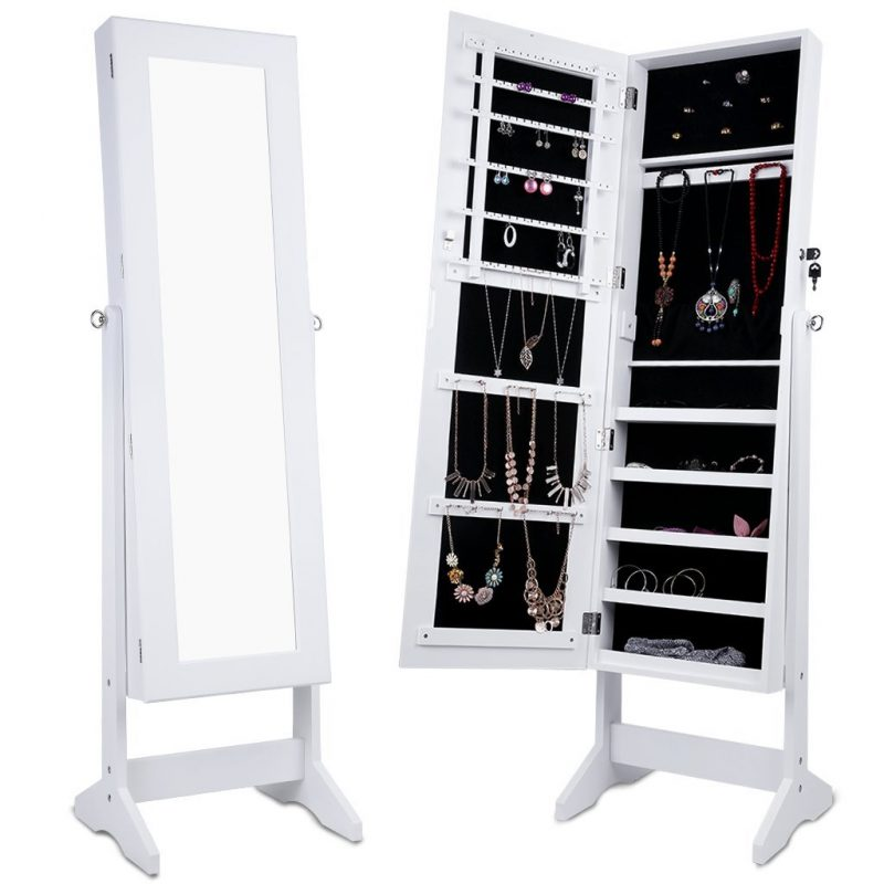 Combined mirror and jewellery cabinet