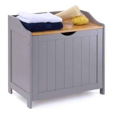 Grey painted laundry bin