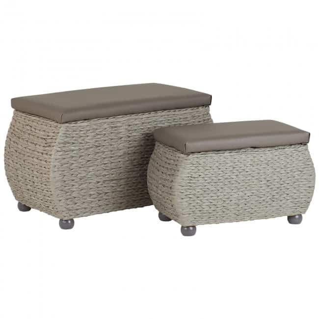 Grey weave ottomans with faux leather seats