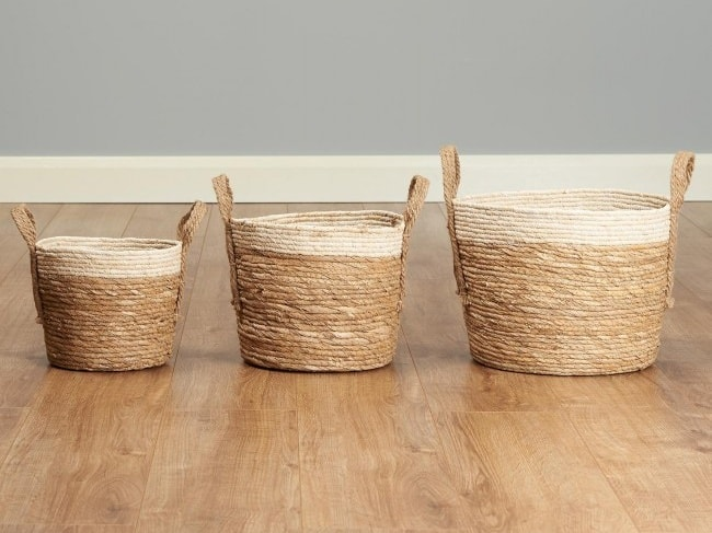 3 natural and cream storage baskets
