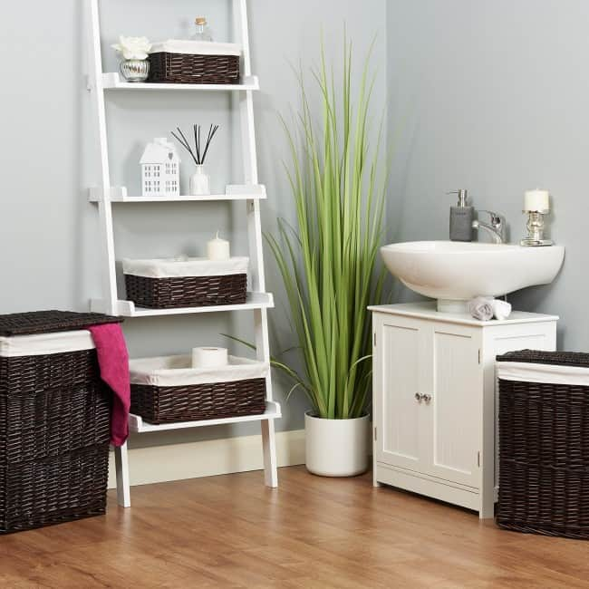 Coordinating bathroom storage baskets