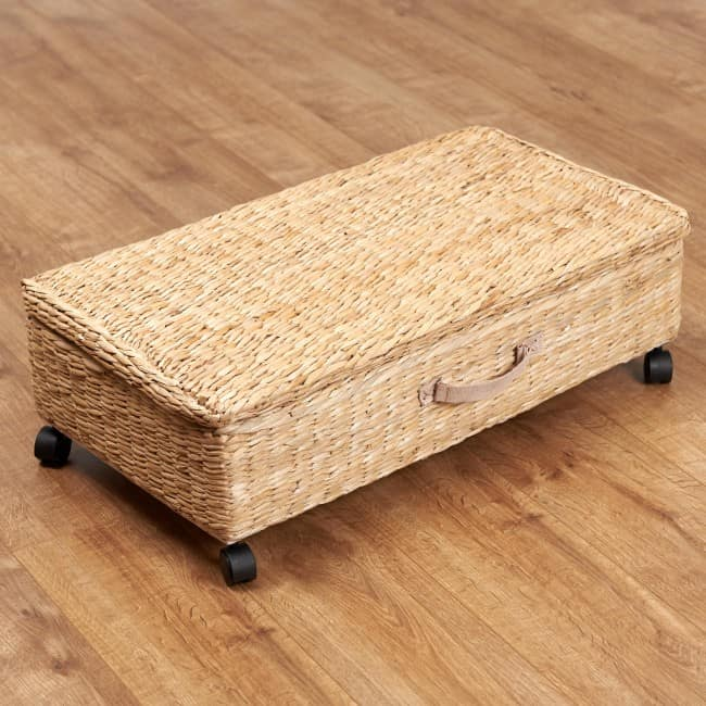 Woven seagrass basket on casters