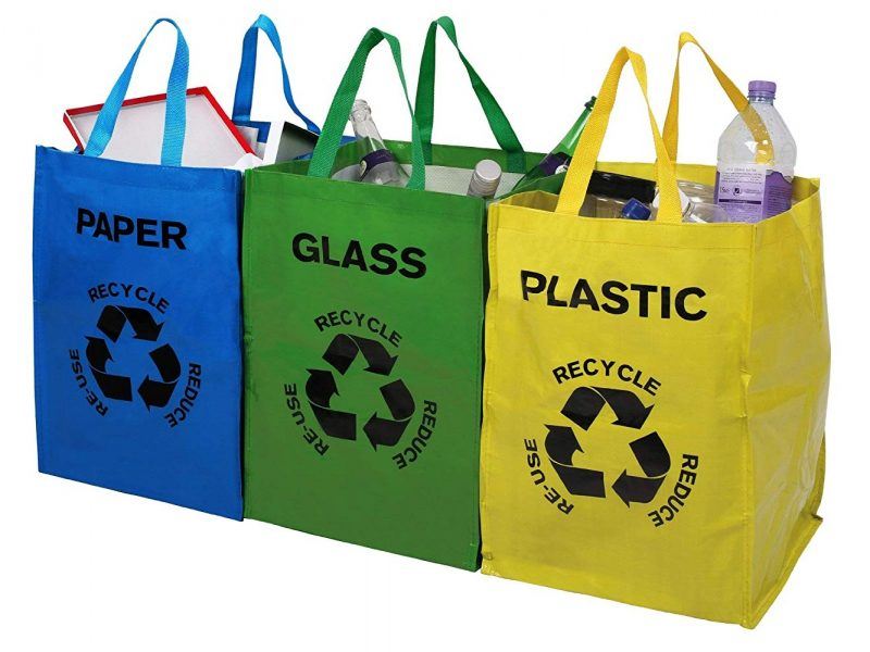 Set of 3 colour coded recycling bags