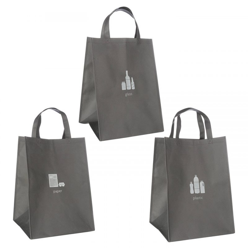 Set of 3 grey recycling bags