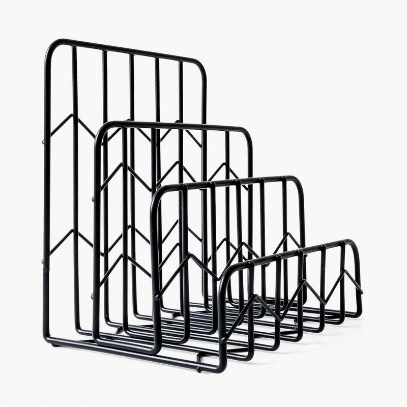 Black wire letter rack