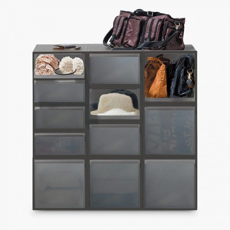 Grey modular drawer unit