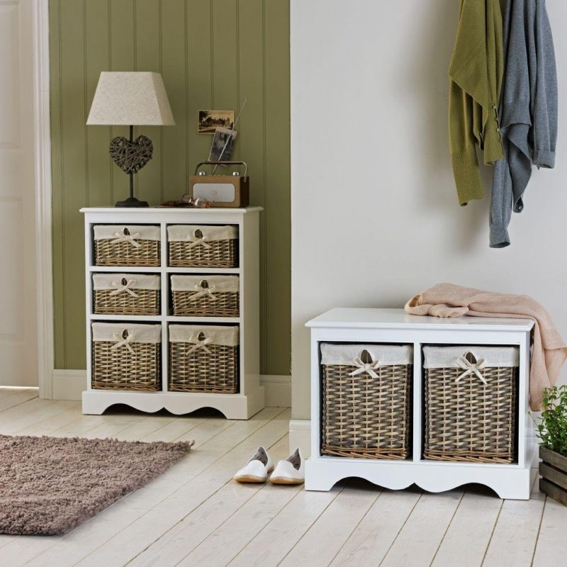 Hallway units with wicker drawers