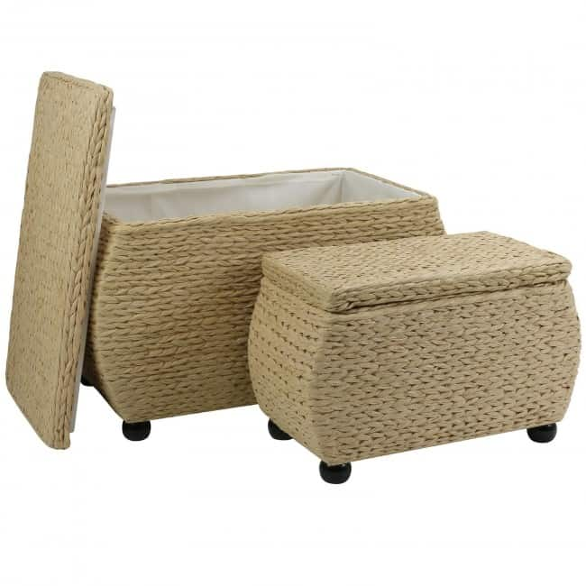 Pair of natural storage ottomans