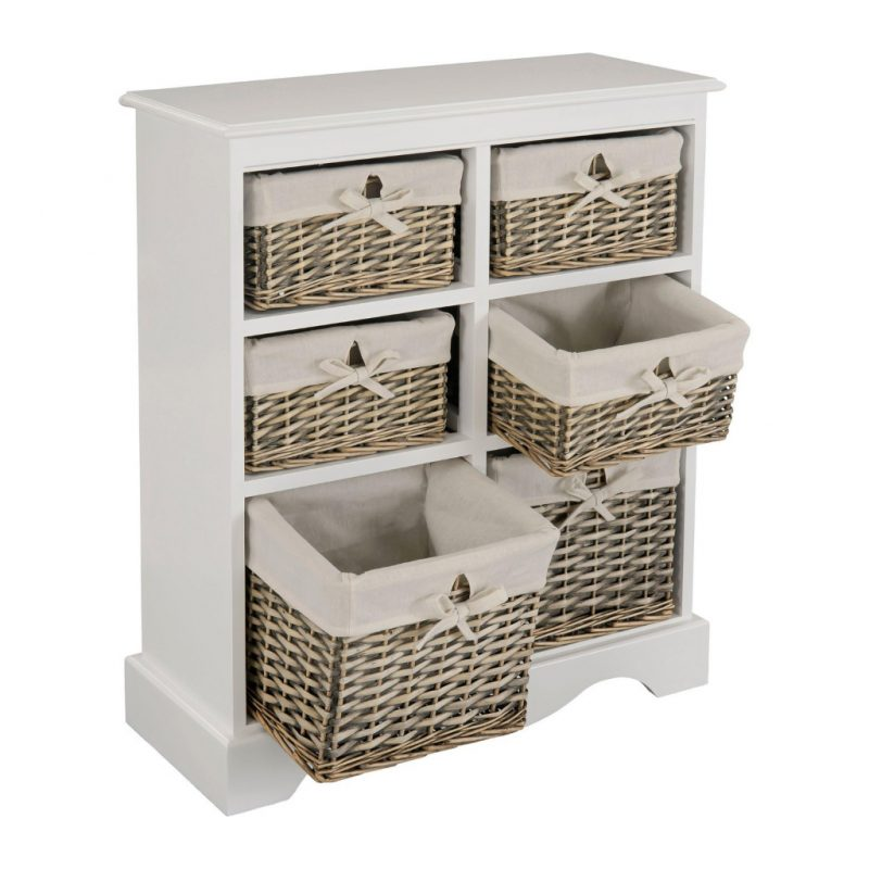 Storage unit with 6 wicker drawers