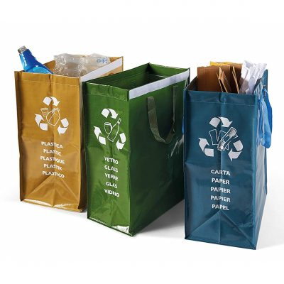 set of 3 tall recycling bags