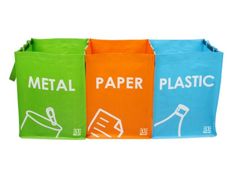 3 brightly coloured recycling bags