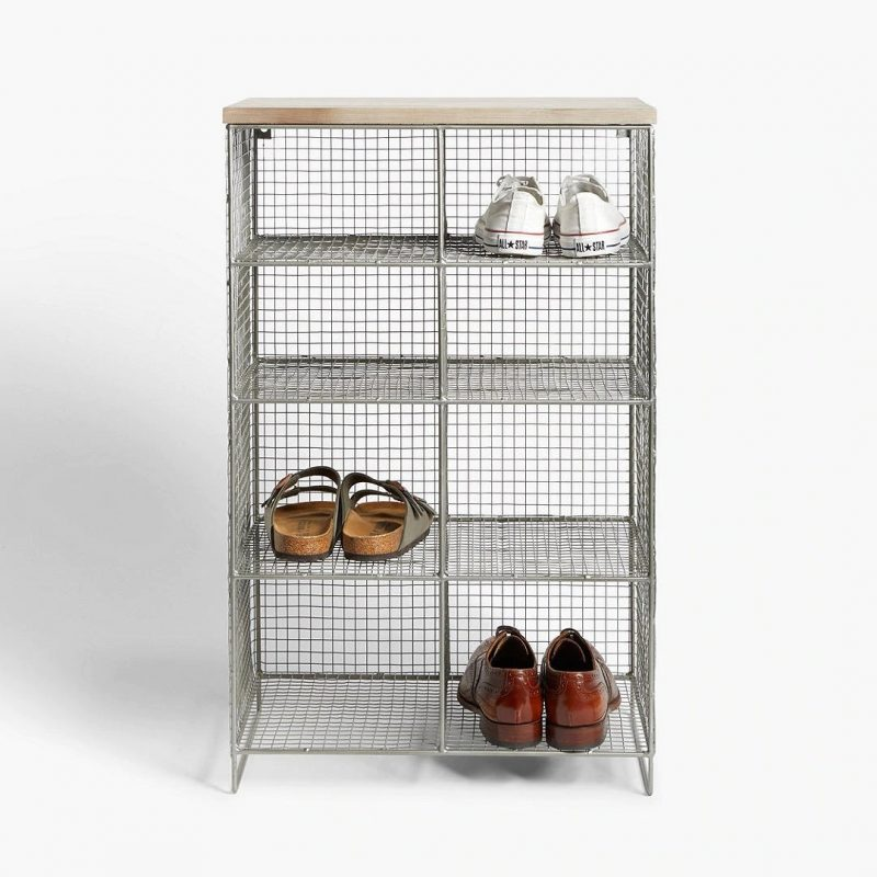 Narrow wire-framed shoe rack