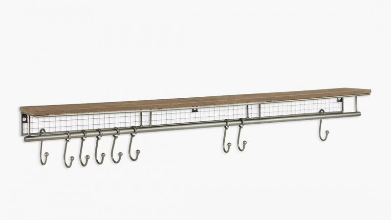 Wire-framed coat rack with shelf