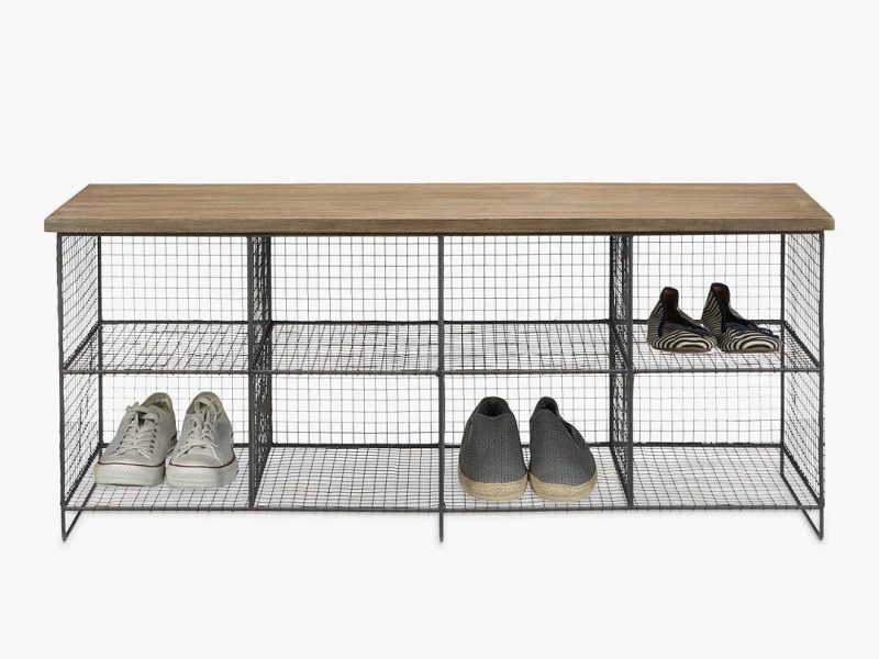 Wire framed shoe bench with wooden top