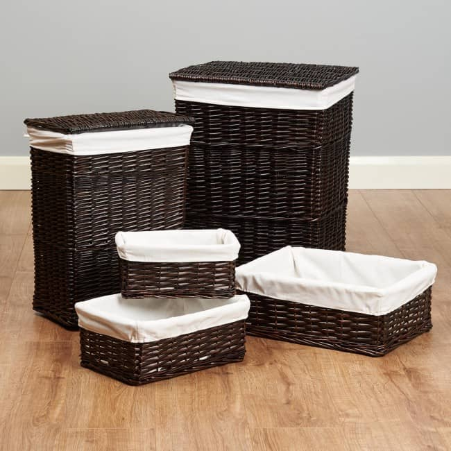 5 dark weave storage baskets