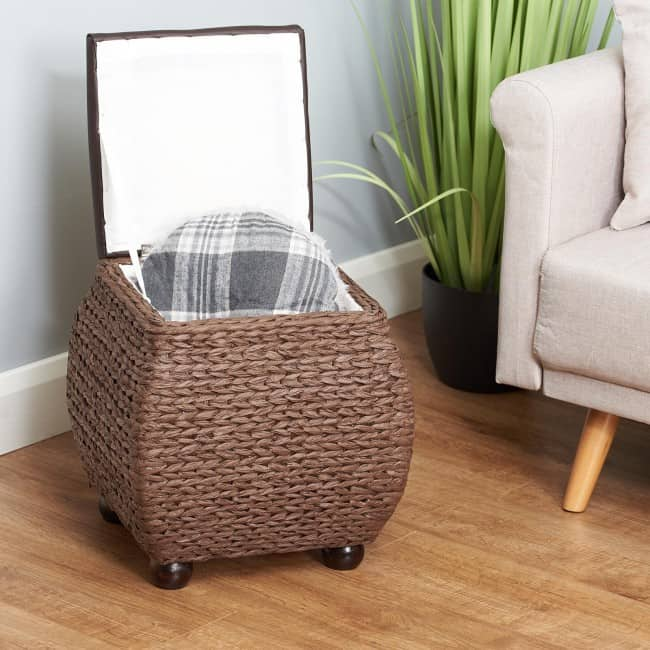Brown weave footstool ottoman