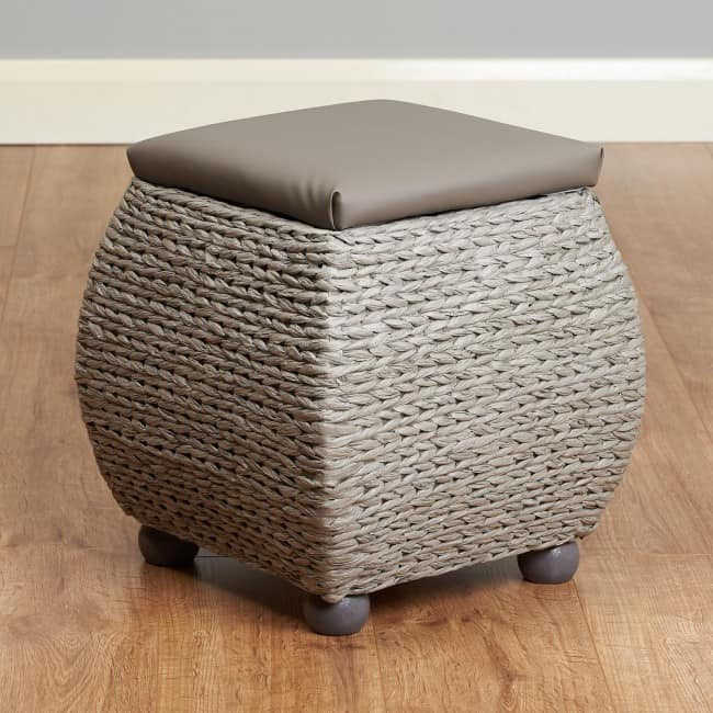 Grey woven ottoman with brown seat