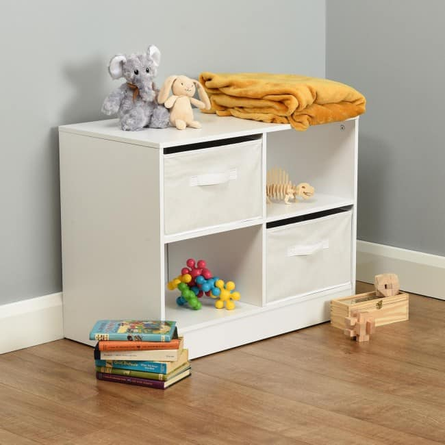 4 cube storage unit with canvas drawers